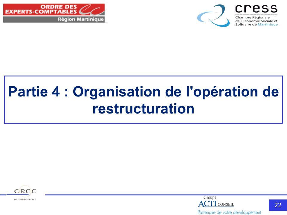 22 Partie 4 : Organisation de l opération de restructuration
