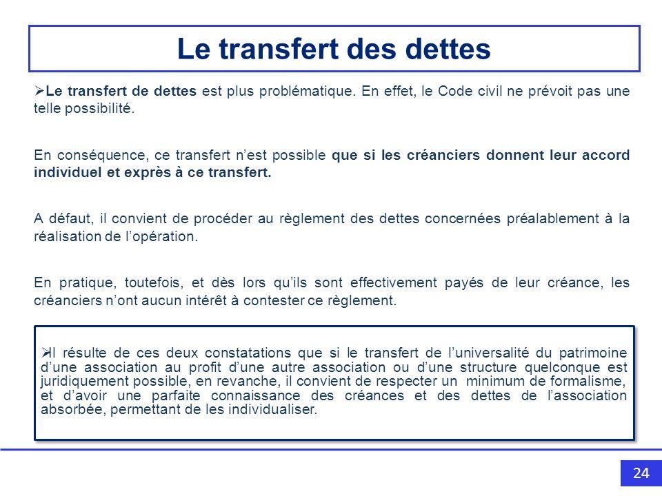 24 Le transfert de dettes est plus problématique.