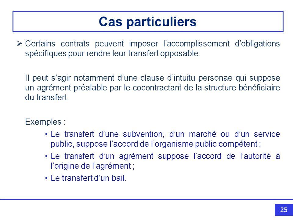 25 Certains contrats peuvent imposer laccomplissement dobligations spécifiques pour rendre leur transfert opposable.