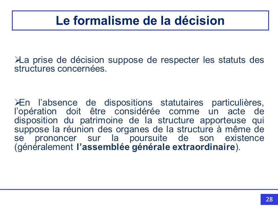 28 La prise de décision suppose de respecter les statuts des structures concernées.
