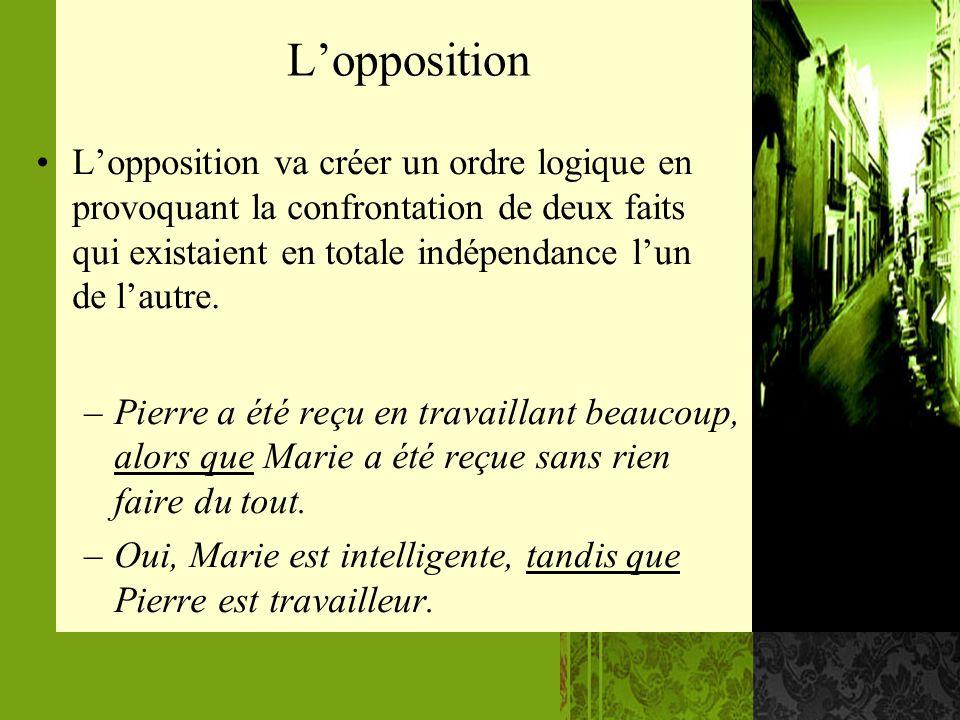 Lopposition Lopposition va créer un ordre logique en provoquant la confrontation de deux faits qui existaient en totale indépendance lun de lautre. –P