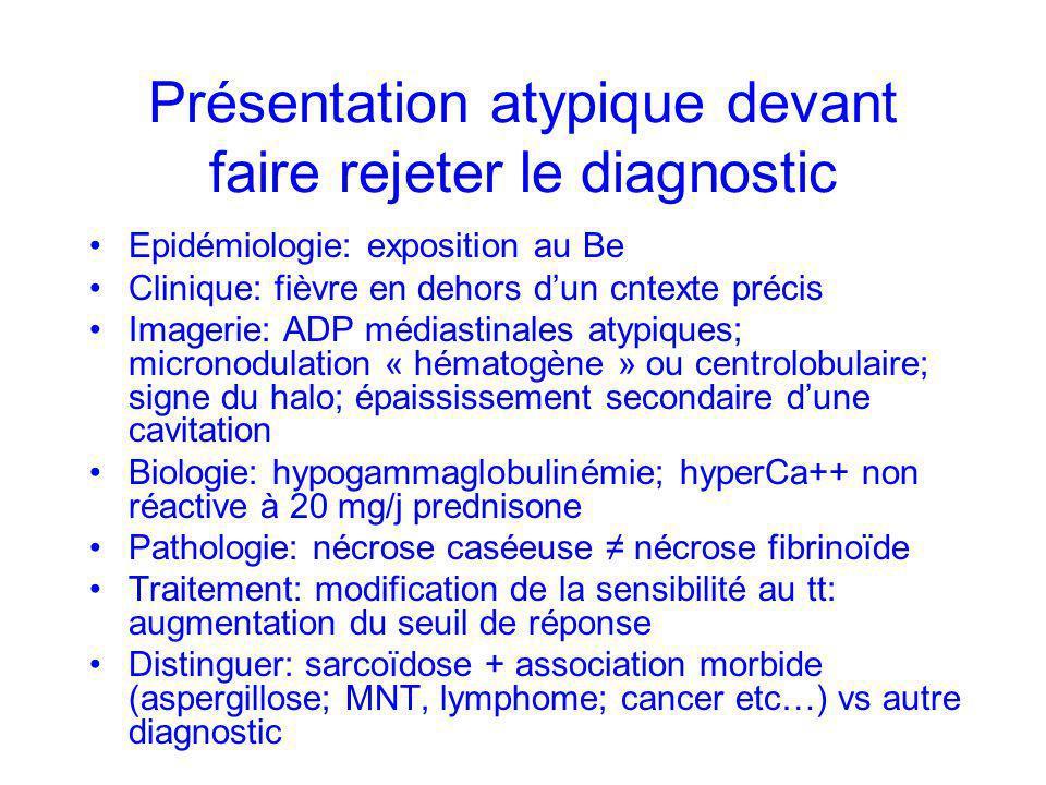 Présentation atypique devant faire rejeter le diagnostic Epidémiologie: exposition au Be Clinique: fièvre en dehors dun cntexte précis Imagerie: ADP m