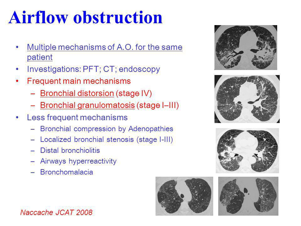 Airflow obstruction Multiple mechanisms of A.O. for the same patient Investigations: PFT; CT; endoscopy Frequent main mechanisms –Bronchial distorsion
