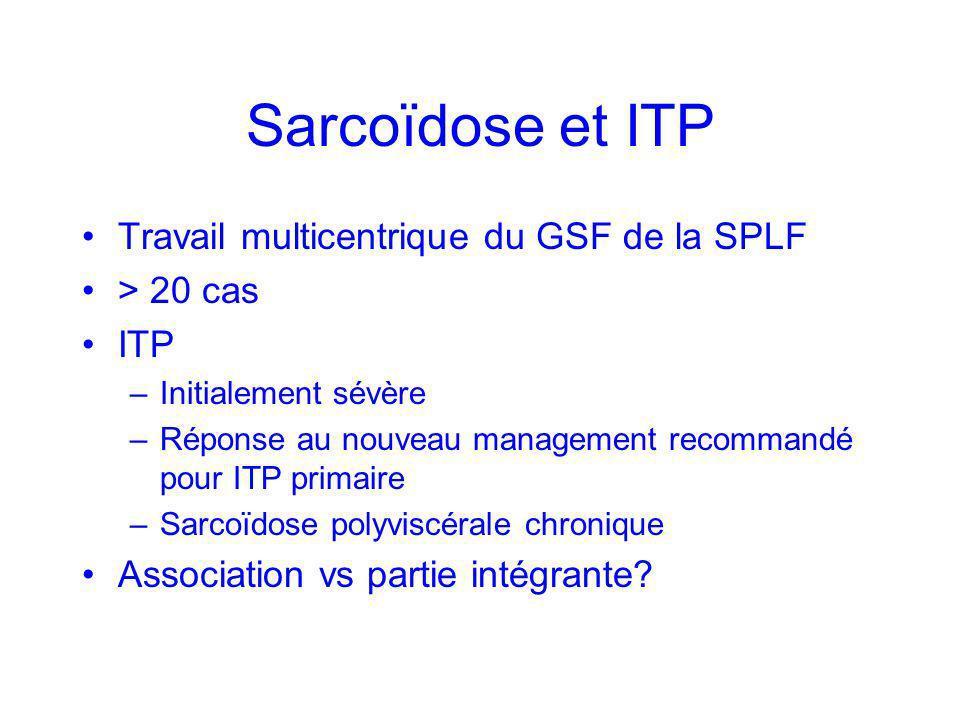 Sarcoïdose et ITP Travail multicentrique du GSF de la SPLF > 20 cas ITP –Initialement sévère –Réponse au nouveau management recommandé pour ITP primai