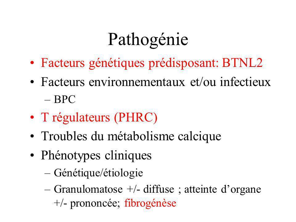 Pathogénie Facteurs génétiques prédisposant: BTNL2 Facteurs environnementaux et/ou infectieux –BPC T régulateurs (PHRC) Troubles du métabolisme calciq