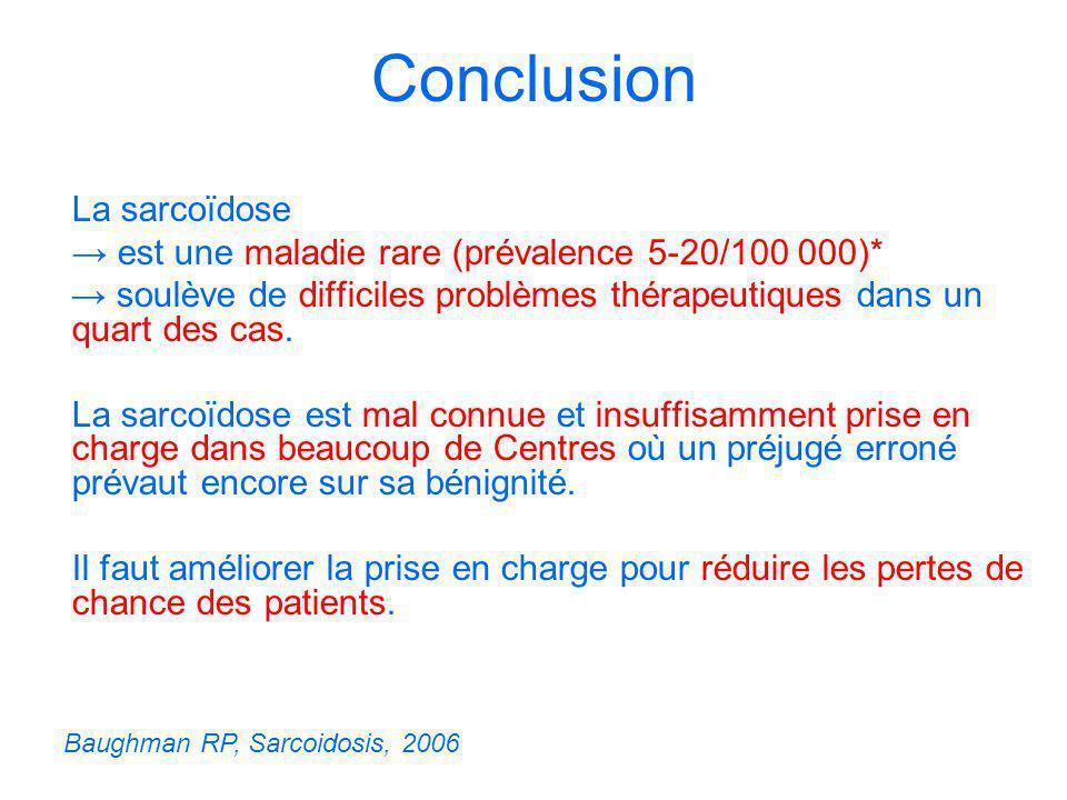 Conclusion La sarcoïdose est une maladie rare (prévalence 5-20/100 000)* soulève de difficiles problèmes thérapeutiques dans un quart des cas. La sarc