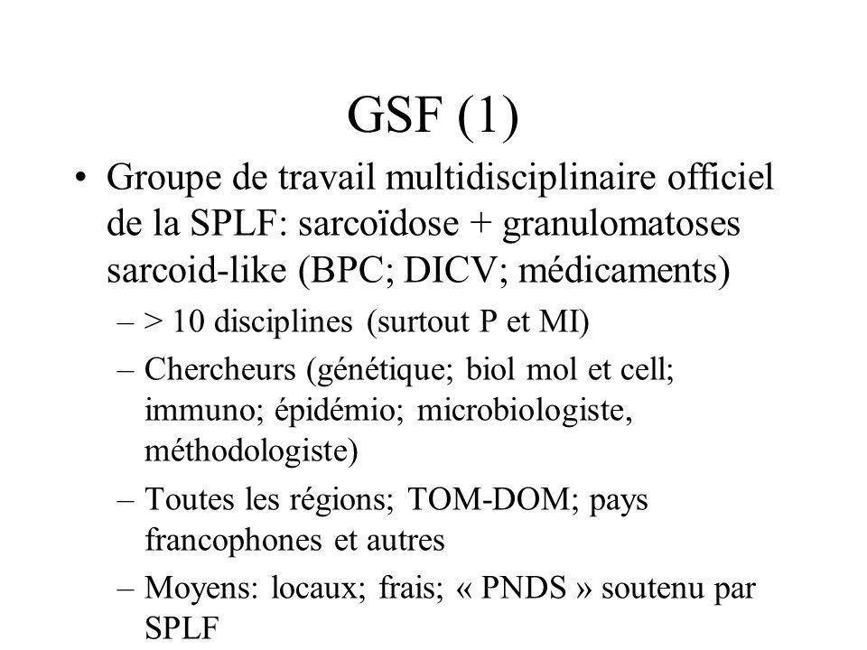 GSF (1) Groupe de travail multidisciplinaire officiel de la SPLF: sarcoïdose + granulomatoses sarcoid-like (BPC; DICV; médicaments) –> 10 disciplines