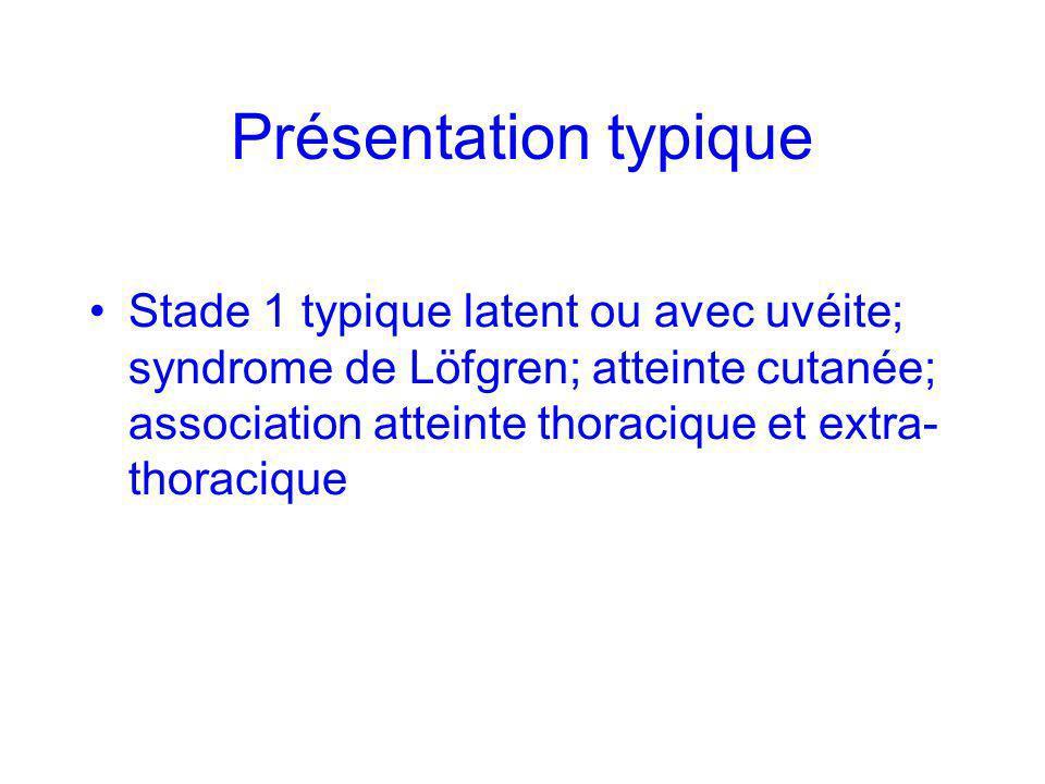 Présentation typique Stade 1 typique latent ou avec uvéite; syndrome de Löfgren; atteinte cutanée; association atteinte thoracique et extra- thoraciqu