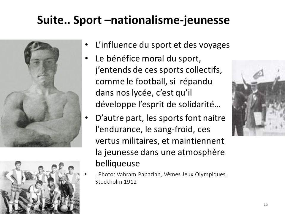 Suite.. Sport –nationalisme-jeunesse Linfluence du sport et des voyages Le bénéfice moral du sport, jentends de ces sports collectifs, comme le footba