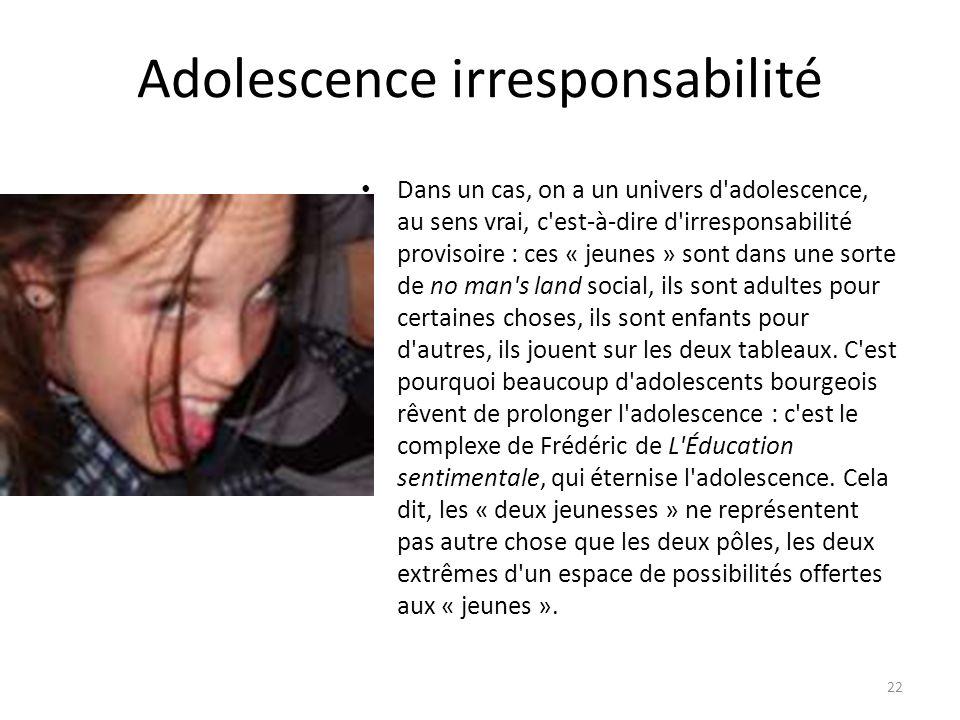 Adolescence irresponsabilité Dans un cas, on a un univers d'adolescence, au sens vrai, c'est-à-dire d'irresponsabilité provisoire : ces « jeunes » son