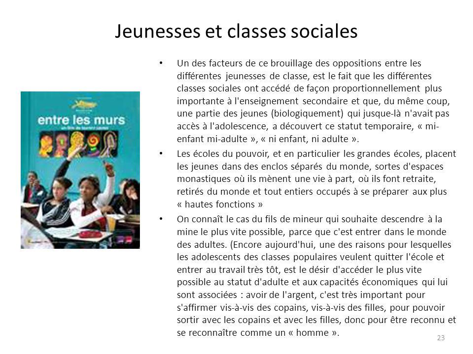 Jeunesses et classes sociales Un des facteurs de ce brouillage des oppositions entre les différentes jeunesses de classe, est le fait que les différen