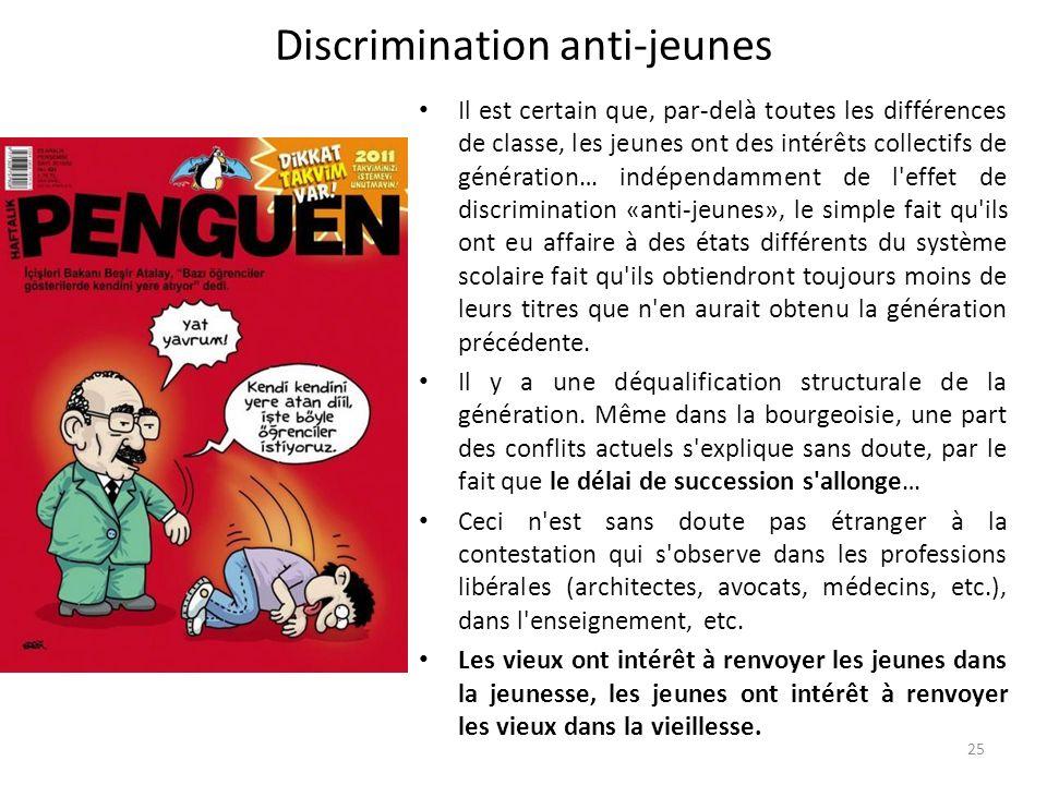 Discrimination anti-jeunes Il est certain que, par-delà toutes les différences de classe, les jeunes ont des intérêts collectifs de génération… indépe