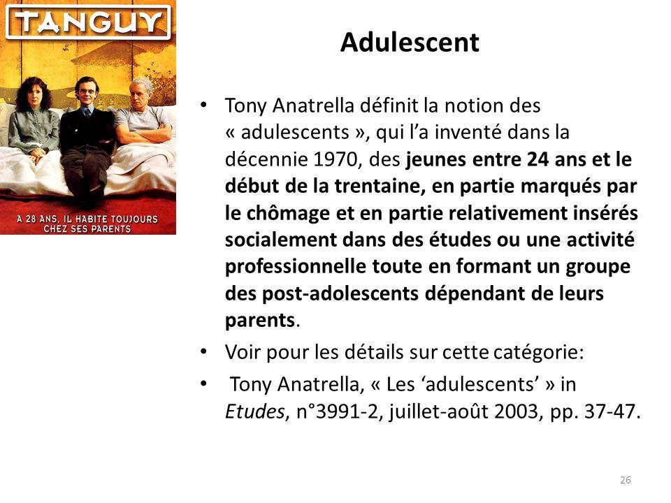 Adulescent Tony Anatrella définit la notion des « adulescents », qui la inventé dans la décennie 1970, des jeunes entre 24 ans et le début de la trent