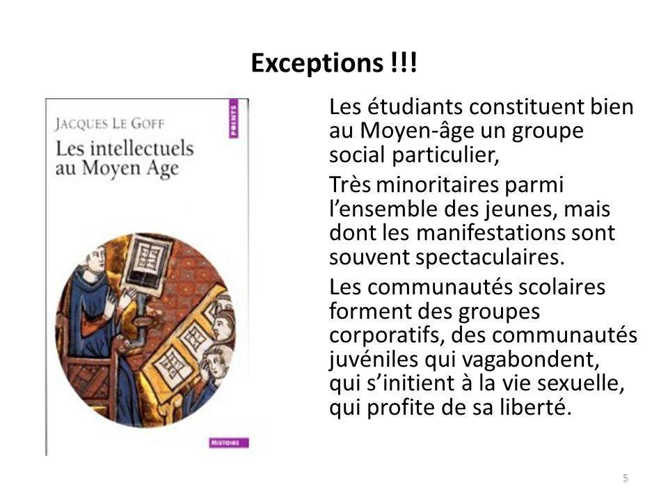 Exceptions !!! Les étudiants constituent bien au Moyen-âge un groupe social particulier, Très minoritaires parmi lensemble des jeunes, mais dont les m