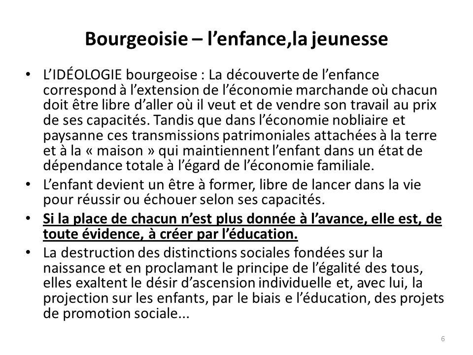 Bourgeoisie – lenfance,la jeunesse LIDÉOLOGIE bourgeoise : La découverte de lenfance correspond à lextension de léconomie marchande où chacun doit êtr