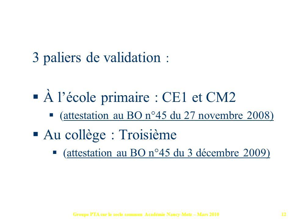 Groupe PTA sur le socle commun Académie Nancy-Metz – Mars 201012 3 paliers de validation : À lécole primaire : CE1 et CM2 (attestation au BO n°45 du 2