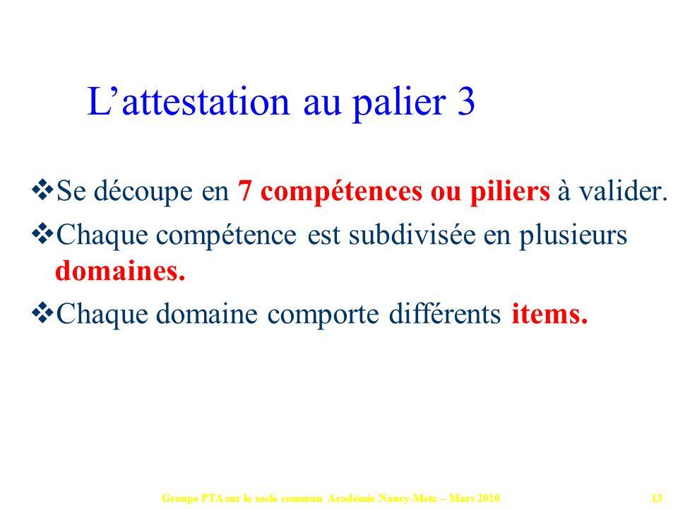 Groupe PTA sur le socle commun Académie Nancy-Metz – Mars 201013 Se découpe en 7 compétences ou piliers à valider. Chaque compétence est subdivisée en