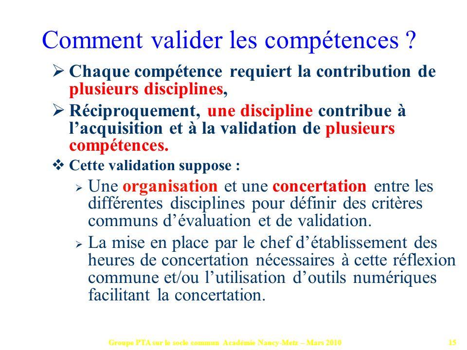 Groupe PTA sur le socle commun Académie Nancy-Metz – Mars 201015 Chaque compétence requiert la contribution de plusieurs disciplines, Réciproquement,