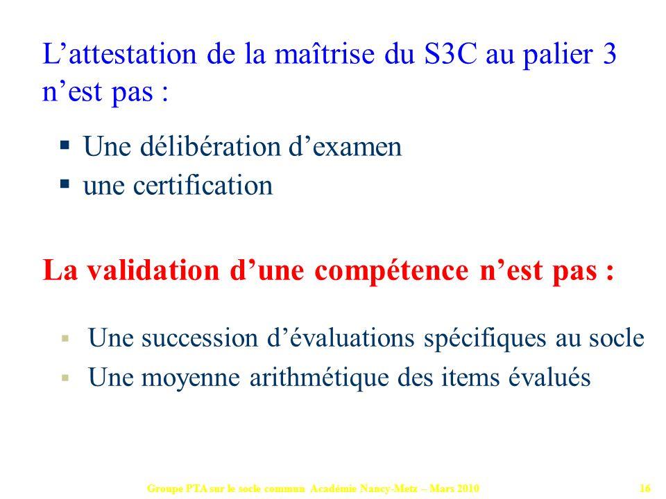Groupe PTA sur le socle commun Académie Nancy-Metz – Mars 201016 Une délibération dexamen une certification La validation dune compétence nest pas : U