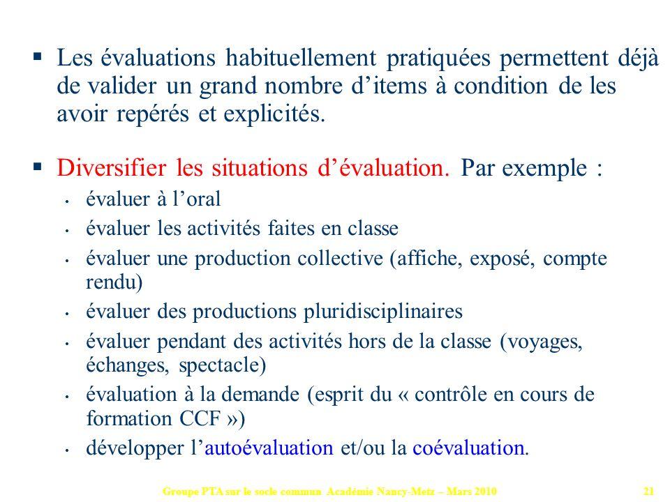 Groupe PTA sur le socle commun Académie Nancy-Metz – Mars 201021 Les évaluations habituellement pratiquées permettent déjà de valider un grand nombre