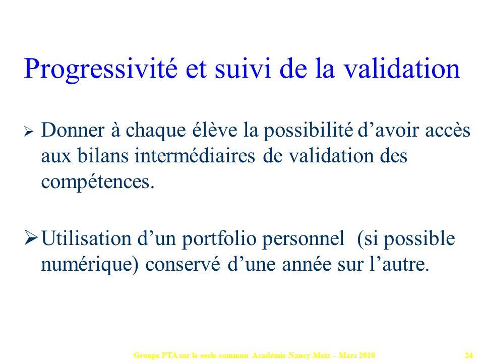 Groupe PTA sur le socle commun Académie Nancy-Metz – Mars 201024 Donner à chaque élève la possibilité davoir accès aux bilans intermédiaires de valida