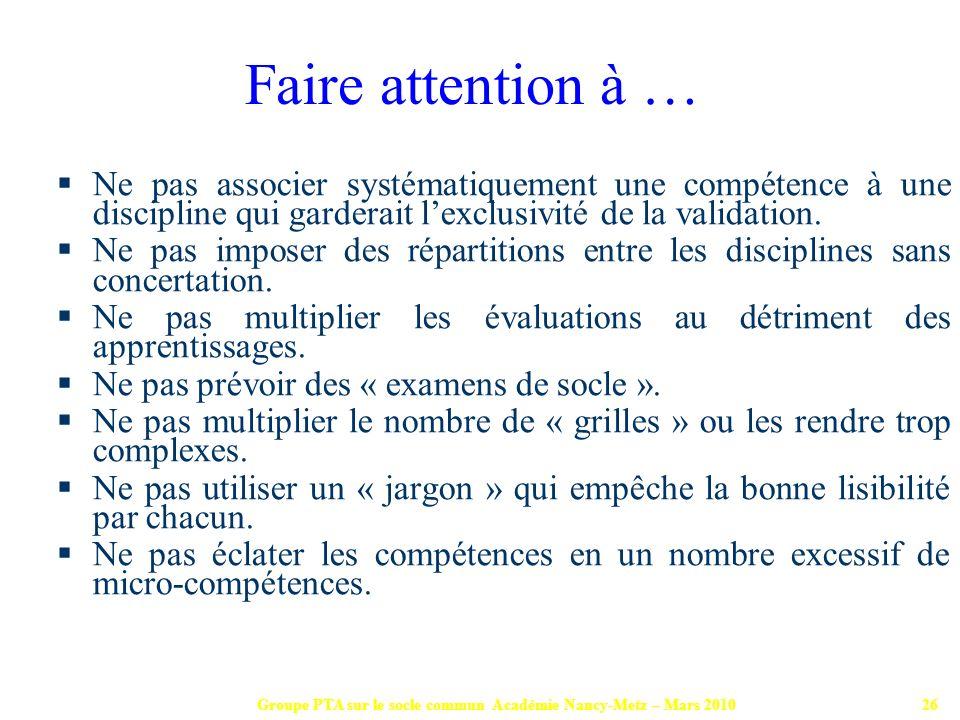Groupe PTA sur le socle commun Académie Nancy-Metz – Mars 201026 Ne pas associer systématiquement une compétence à une discipline qui garderait lexclu