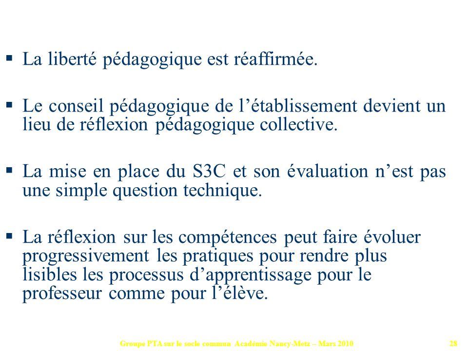 Groupe PTA sur le socle commun Académie Nancy-Metz – Mars 201028 La liberté pédagogique est réaffirmée. Le conseil pédagogique de létablissement devie