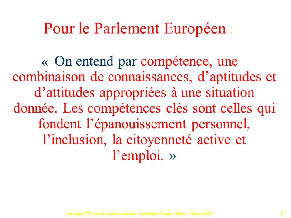 Groupe PTA sur le socle commun Académie Nancy-Metz – Mars 201024 Donner à chaque élève la possibilité davoir accès aux bilans intermédiaires de validation des compétences.