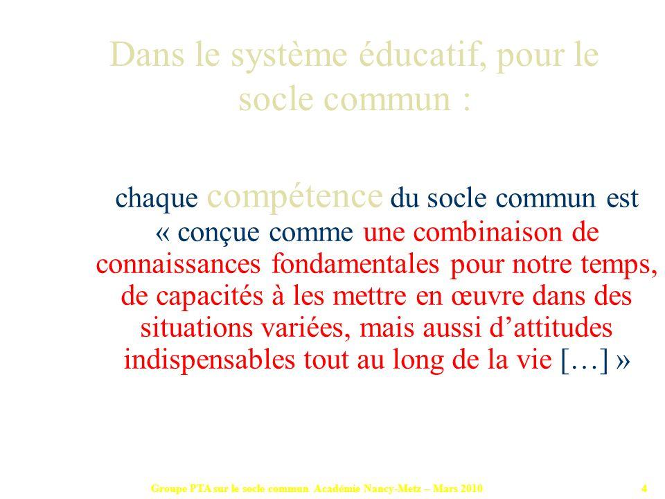 Groupe PTA sur le socle commun Académie Nancy-Metz – Mars 201015 Chaque compétence requiert la contribution de plusieurs disciplines, Réciproquement, une discipline contribue à lacquisition et à la validation de plusieurs compétences.
