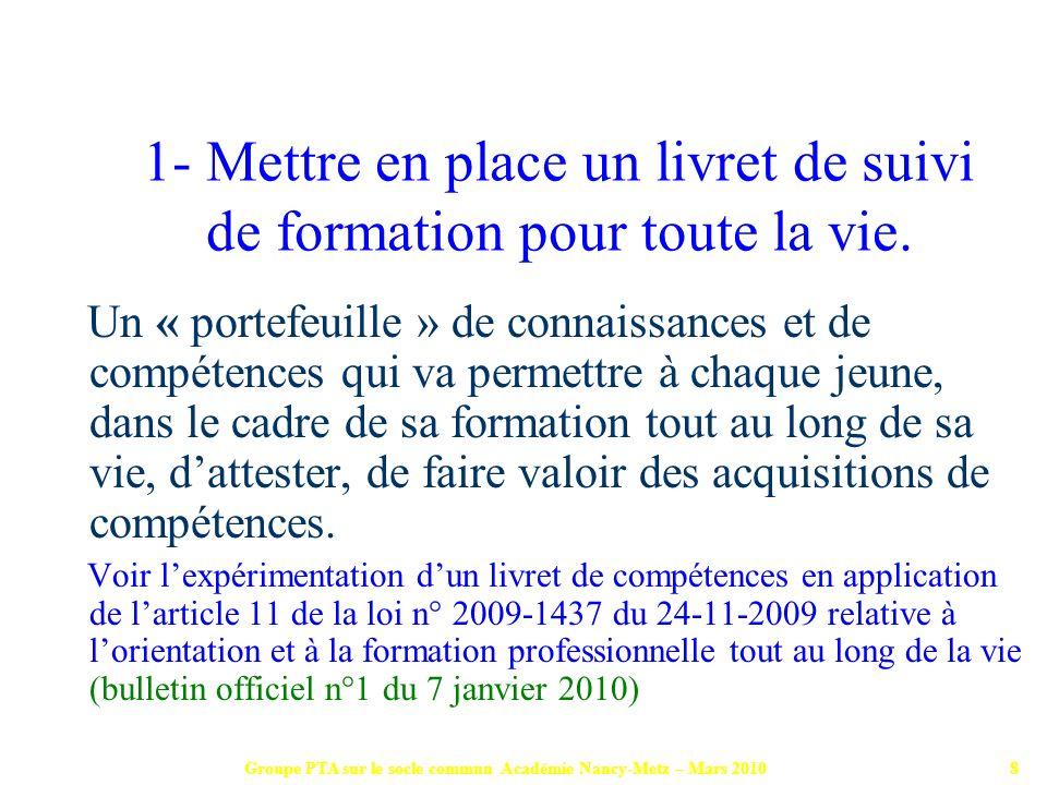 Groupe PTA sur le socle commun Académie Nancy-Metz – Mars 20109 Rendre lisibles pour les élèves, les objectifs dapprentissage et leur acquis : donner du sens aux apprentissages.