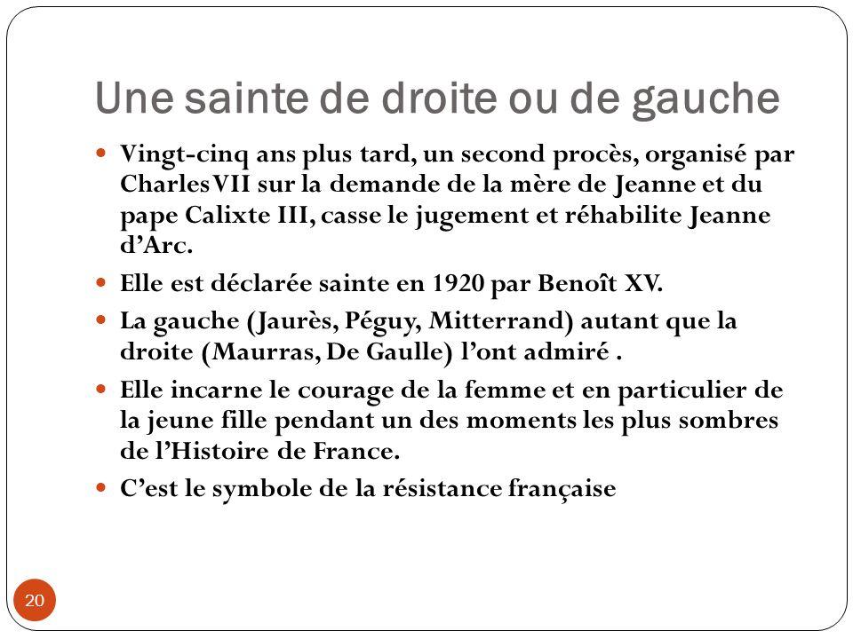 Une sainte de droite ou de gauche 20 Vingt-cinq ans plus tard, un second procès, organisé par Charles VII sur la demande de la mère de Jeanne et du pa