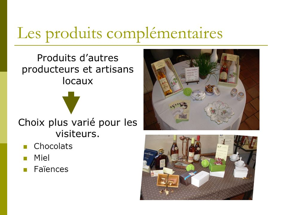Les produits complémentaires Produits dautres producteurs et artisans locaux Choix plus varié pour les visiteurs.