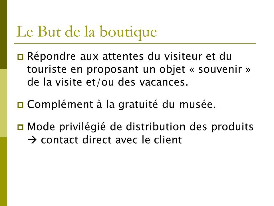 Le But de la boutique Répondre aux attentes du visiteur et du touriste en proposant un objet « souvenir » de la visite et/ou des vacances.