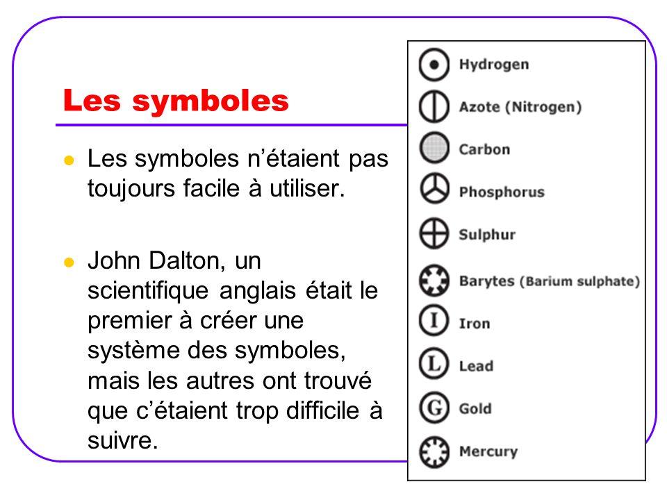 Les symboles Les symboles nétaient pas toujours facile à utiliser. John Dalton, un scientifique anglais était le premier à créer une système des symbo