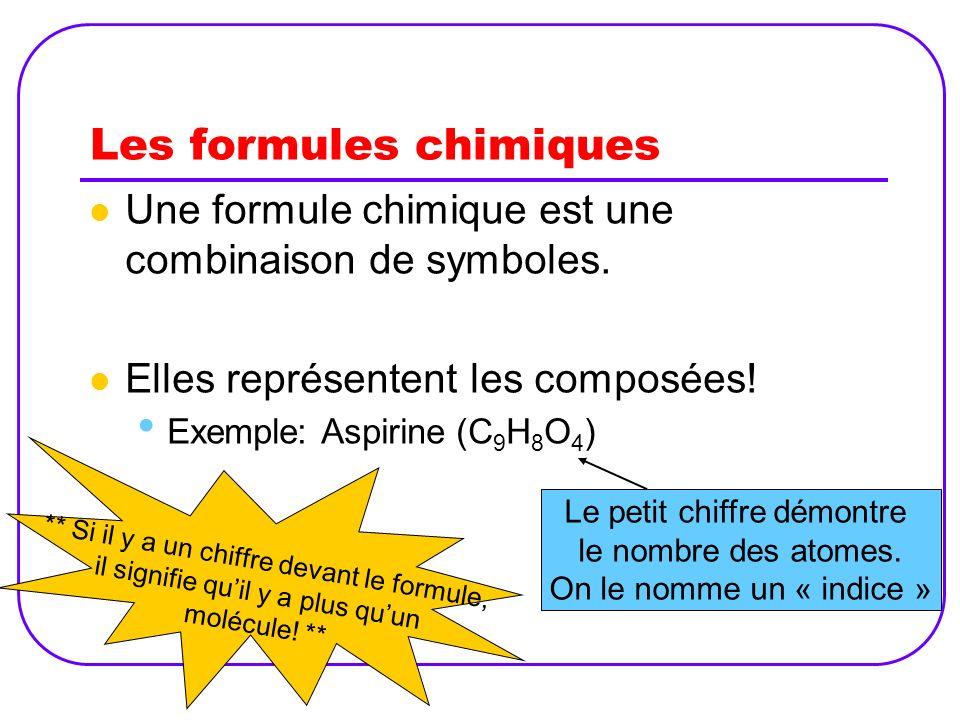 Les formules chimiques Une formule chimique est une combinaison de symboles. Elles représentent les composées! Exemple: Aspirine (C 9 H 8 O 4 ) Le pet