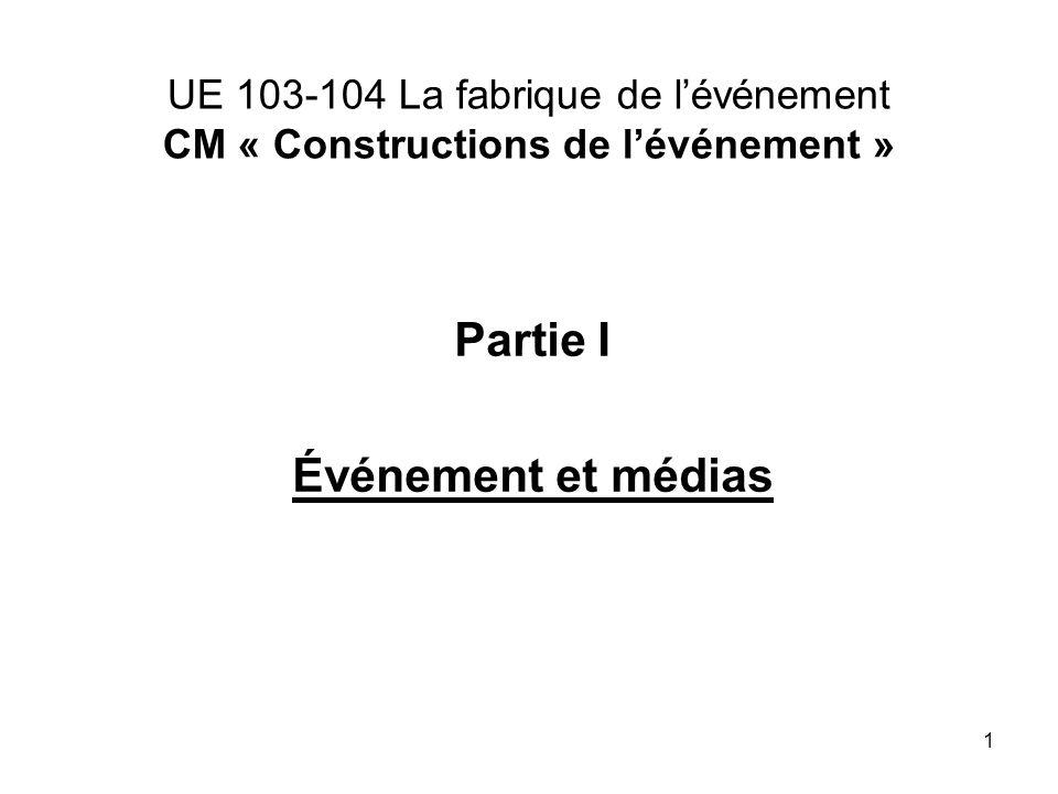 1 UE 103-104 La fabrique de lévénement CM « Constructions de lévénement » Partie I Événement et médias