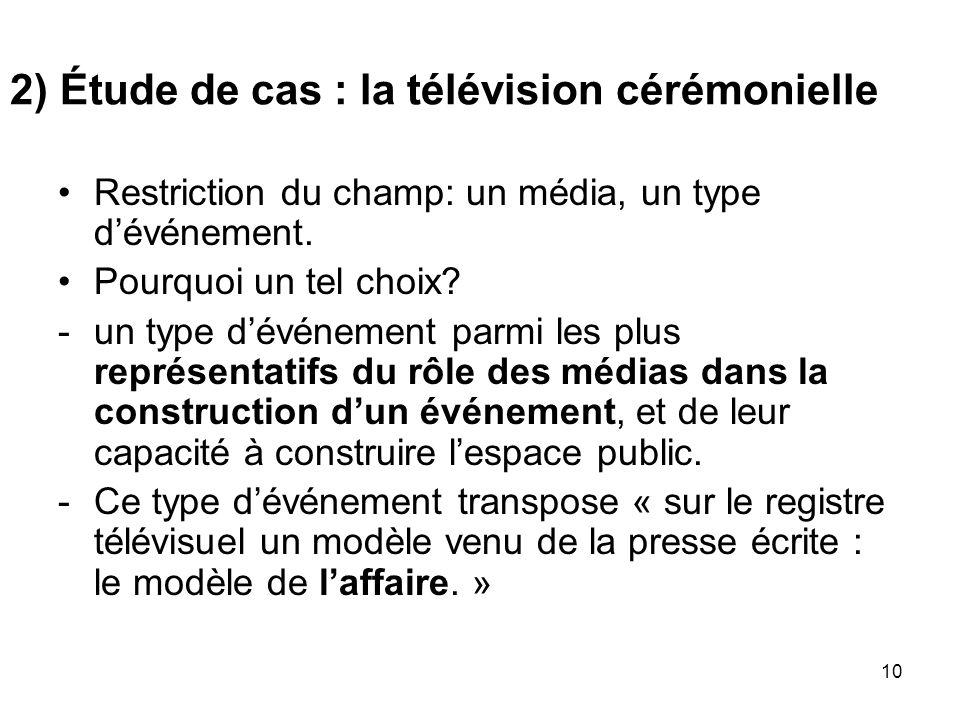 10 2) Étude de cas : la télévision cérémonielle Restriction du champ: un média, un type dévénement. Pourquoi un tel choix? -un type dévénement parmi l