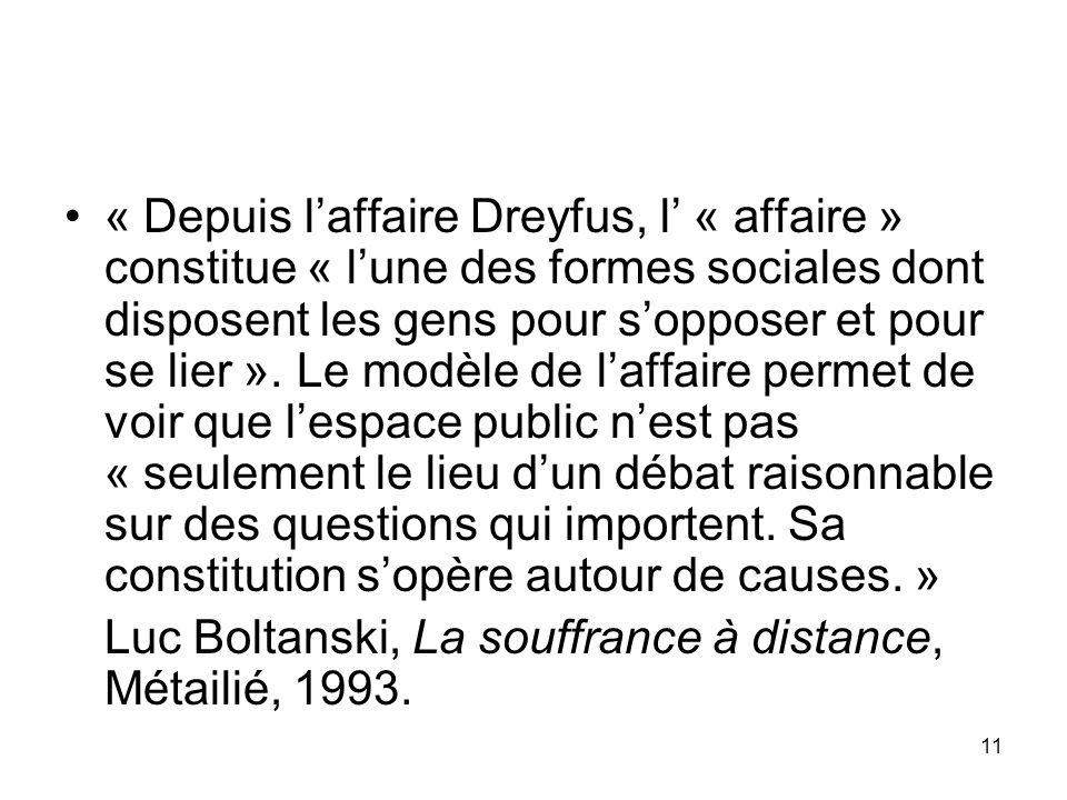 11 « Depuis laffaire Dreyfus, l « affaire » constitue « lune des formes sociales dont disposent les gens pour sopposer et pour se lier ». Le modèle de