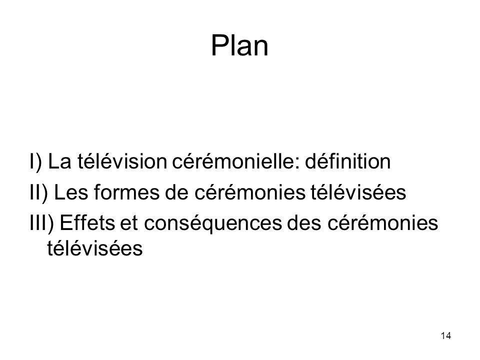 14 Plan I) La télévision cérémonielle: définition II) Les formes de cérémonies télévisées III) Effets et conséquences des cérémonies télévisées