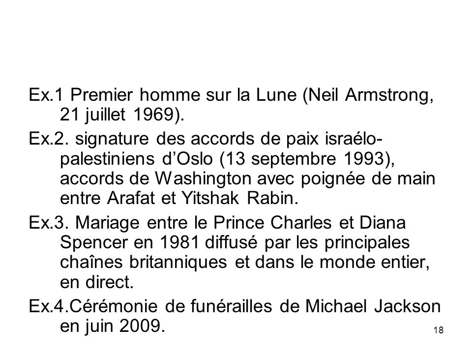 Ex.1 Premier homme sur la Lune (Neil Armstrong, 21 juillet 1969). Ex.2. signature des accords de paix israélo- palestiniens dOslo (13 septembre 1993),
