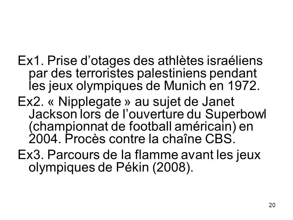 20 Ex1. Prise dotages des athlètes israéliens par des terroristes palestiniens pendant les jeux olympiques de Munich en 1972. Ex2. « Nipplegate » au s