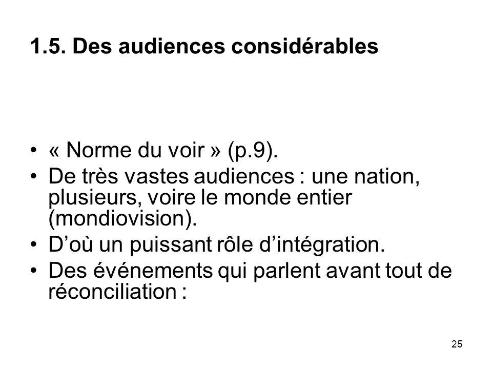 25 1.5. Des audiences considérables « Norme du voir » (p.9). De très vastes audiences : une nation, plusieurs, voire le monde entier (mondiovision). D