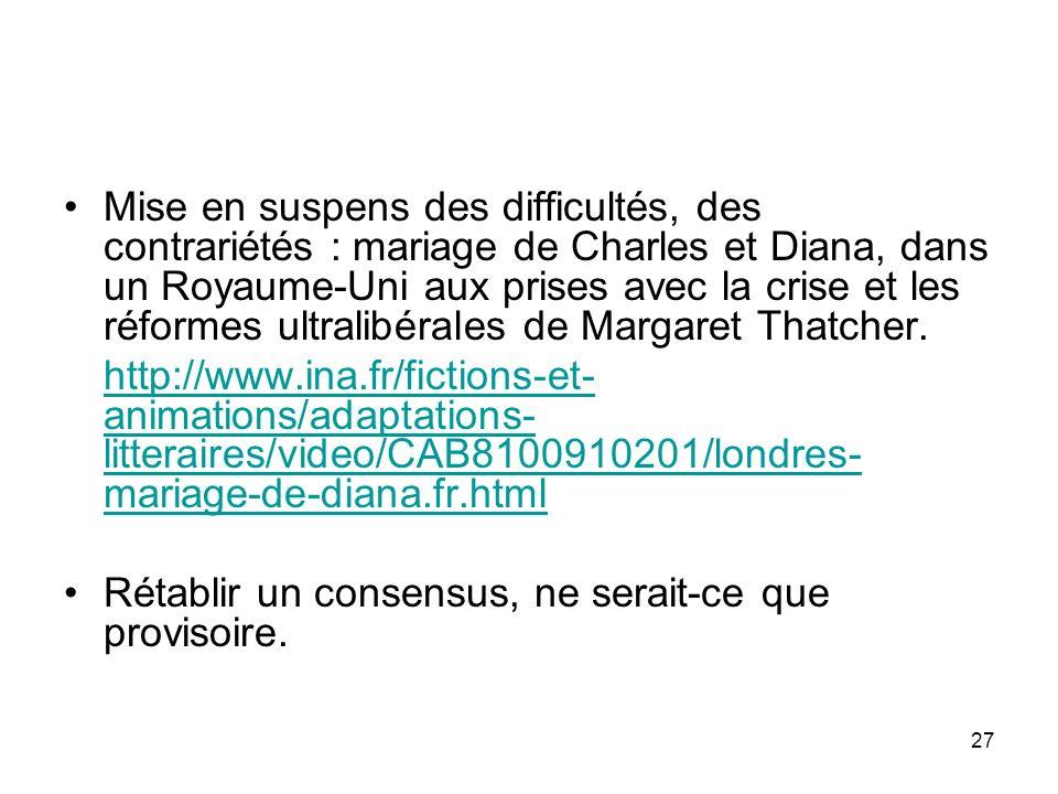 27 Mise en suspens des difficultés, des contrariétés : mariage de Charles et Diana, dans un Royaume-Uni aux prises avec la crise et les réformes ultra