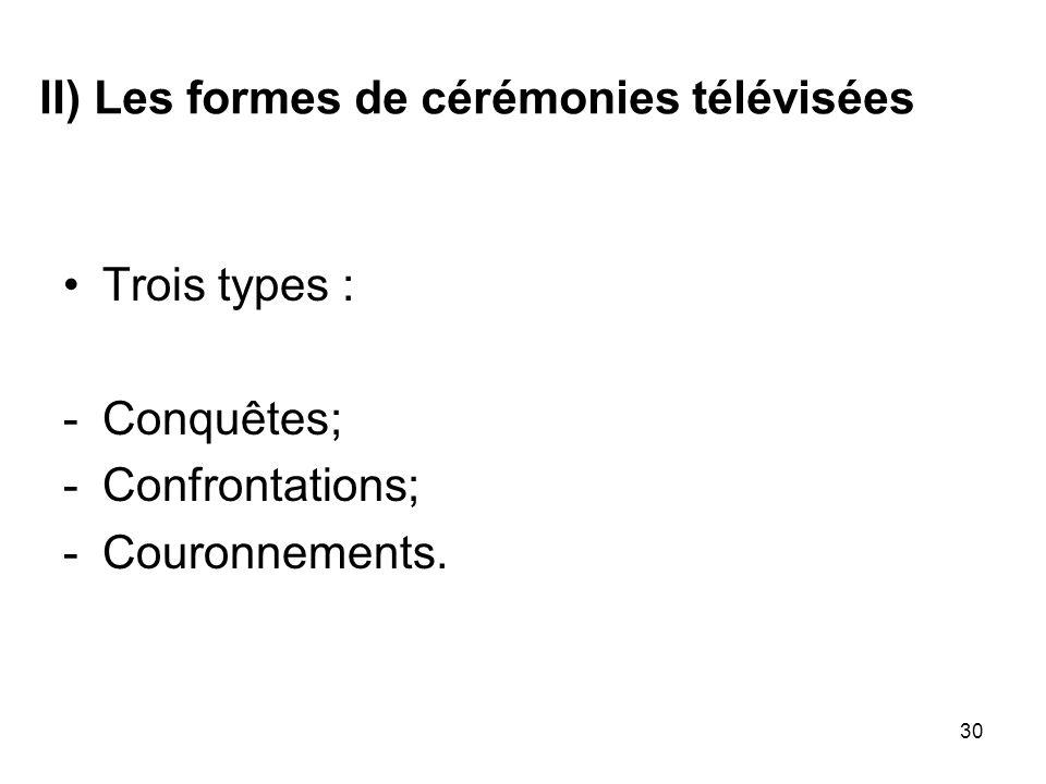 30 II) Les formes de cérémonies télévisées Trois types : -Conquêtes; -Confrontations; -Couronnements.
