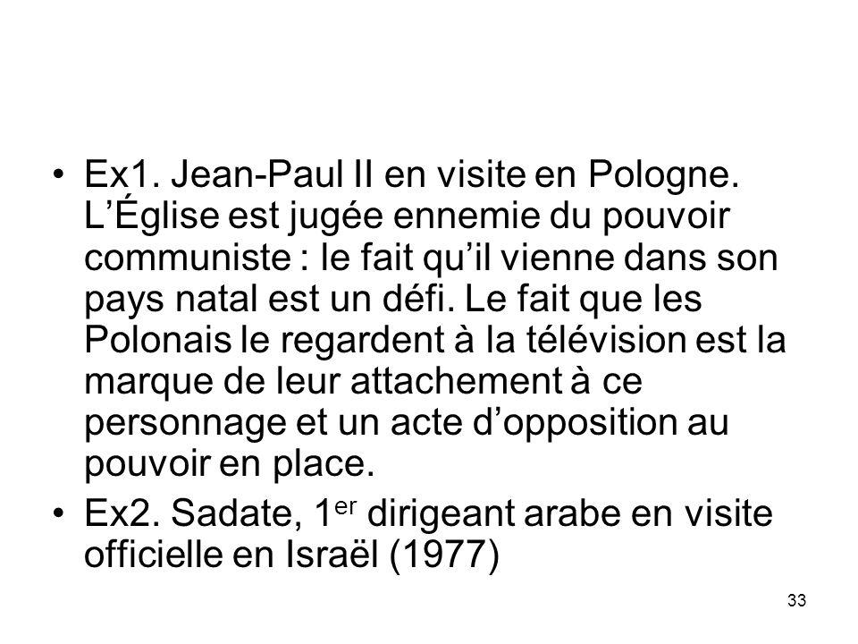 Ex1. Jean-Paul II en visite en Pologne. LÉglise est jugée ennemie du pouvoir communiste : le fait quil vienne dans son pays natal est un défi. Le fait