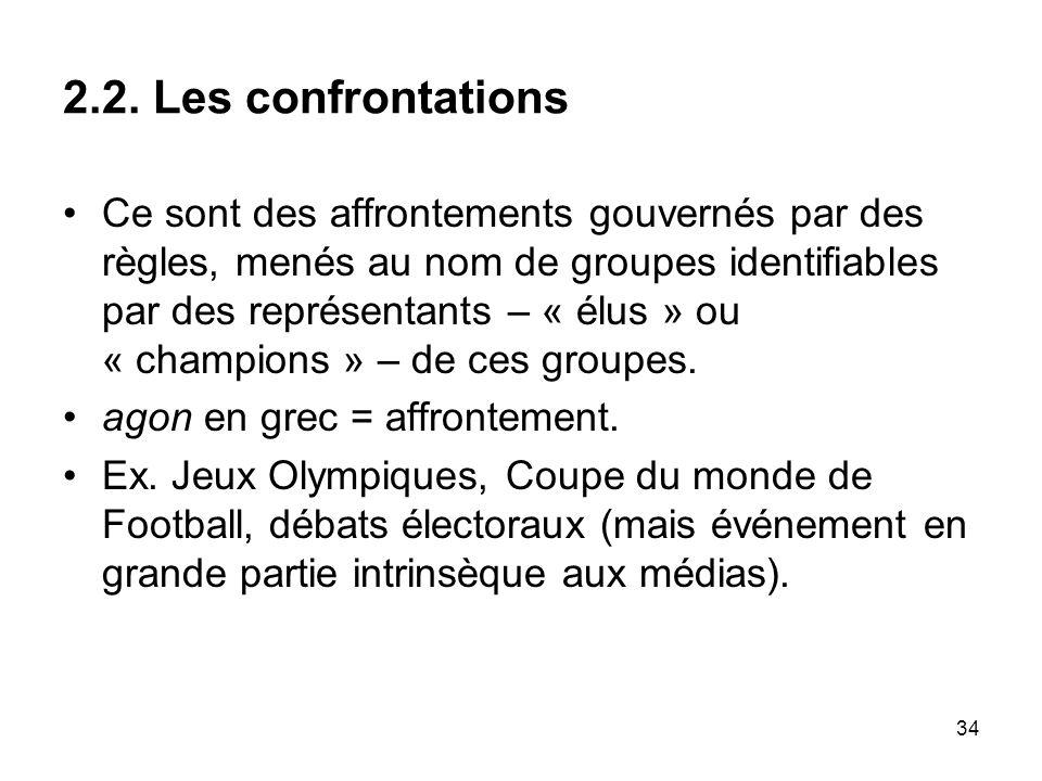 34 2.2. Les confrontations Ce sont des affrontements gouvernés par des règles, menés au nom de groupes identifiables par des représentants – « élus »