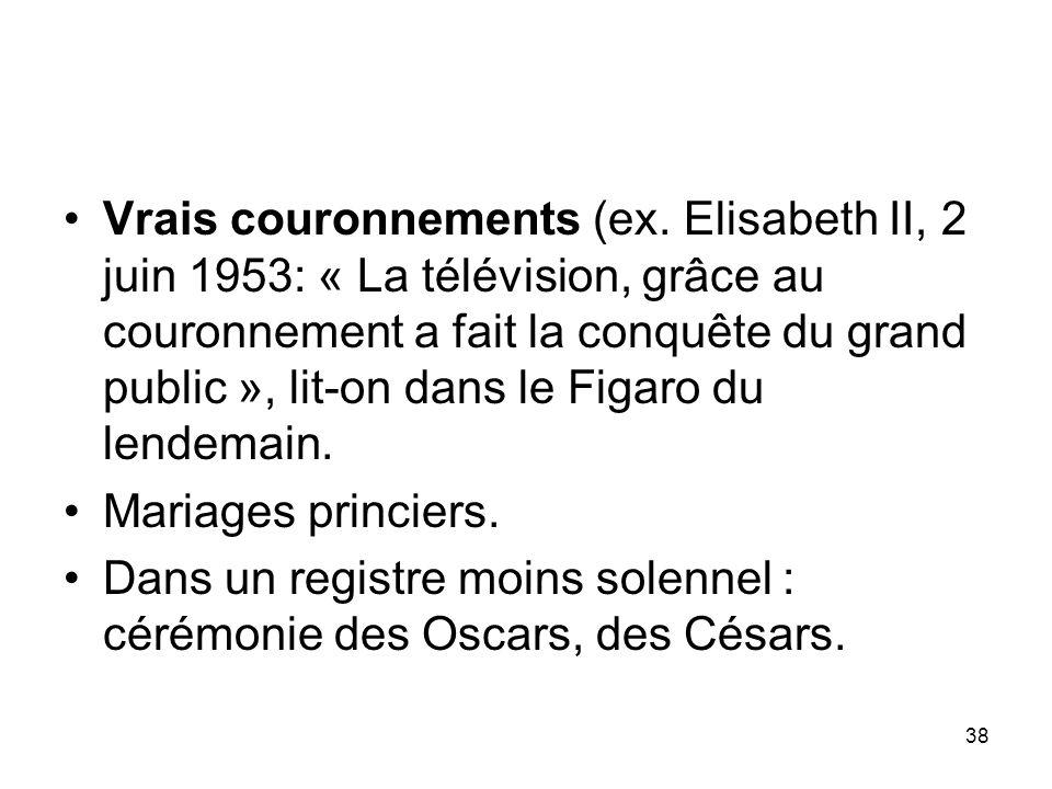 38 Vrais couronnements (ex. Elisabeth II, 2 juin 1953: « La télévision, grâce au couronnement a fait la conquête du grand public », lit-on dans le Fig