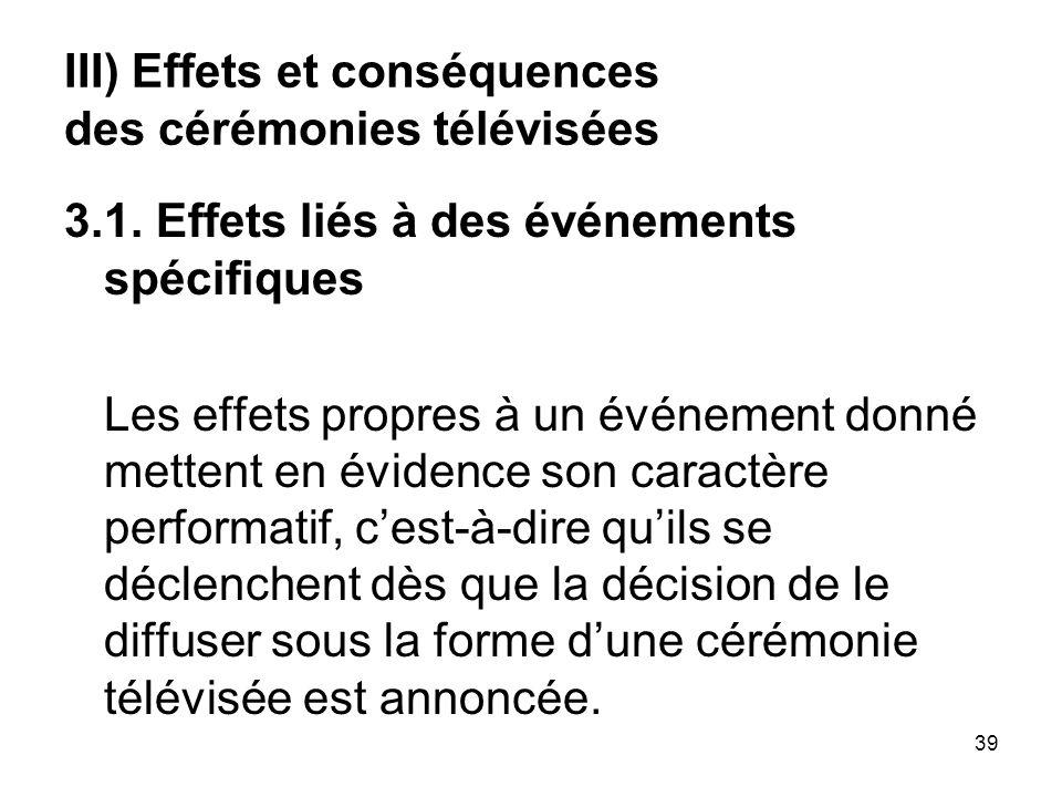 39 III) Effets et conséquences des cérémonies télévisées 3.1. Effets liés à des événements spécifiques Les effets propres à un événement donné mettent