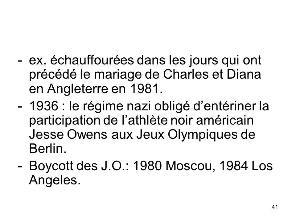 -ex. échauffourées dans les jours qui ont précédé le mariage de Charles et Diana en Angleterre en 1981. -1936 : le régime nazi obligé dentériner la pa