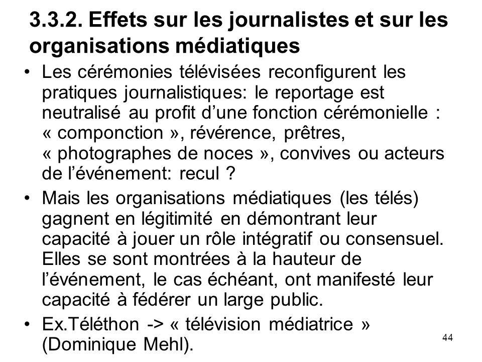 44 3.3.2. Effets sur les journalistes et sur les organisations médiatiques Les cérémonies télévisées reconfigurent les pratiques journalistiques: le r
